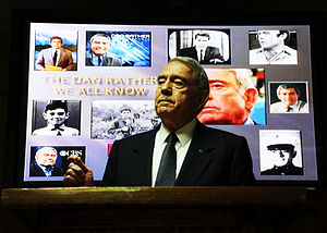 Dan Rather - Rather speaking about his experiences in his 61 years of journalism before a group of NATO commanders at Camp Eggers in Kabul, Afghanistan in July 2011.