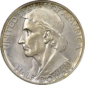 Daniel Boone Bicentennial half dollar - Obverse