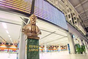Lviv Danylo Halytskyi International Airport - Bust of Danylo Halytskyi inside the new terminal