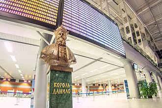 Lviv Danylo Halytskyi International Airport - Bust of Danylo Halytskyi inside the new terminal