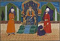 Dara, the son of Darab, sits on the throne with supports in the form of gold lions.jpg