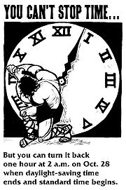 A 2001 public service announcement reminded people to adjust clocks manually.
