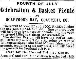 Dayton (sternwheeler) - Advertisement for Fourth of July excursion on Dayton, 1879.