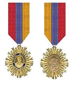 De Orde van de Bevrijder Venezuela Ridderkruis voor en achterzijde met het lint.jpg