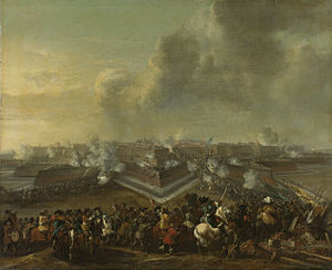 Coevorden - Painting of the (re)capture of Coevorden by Dutch troops commanded by Carl von Rabenhaupt in December 1672, as part of the Franco-Dutch War.