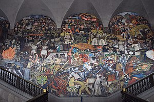 Culture of Mexico - Mural by Diego Rivera at the National Palace depicting the history of Mexico from the Conquest to early 20th century.