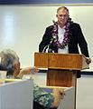 Defense.gov News Photo 100727-F-6655M-011 - Deputy Secretary of Defense William J. Lynn III listens to a question from President of the University of Guam Robert Underwood during a recent.jpg