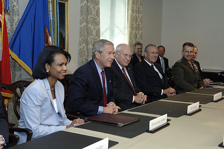 President Bush meets with Secretary of Defense Donald Rumsfeld and his staff at the Pentagon, 14 August 2006 Defense.gov photo essay 060814-D-2987S-023.jpg