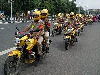 Delhi Police - Delhi Police pictured on TVS Apache bikes during patrolling.