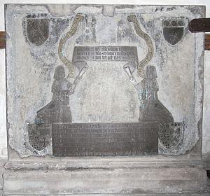 Olveston - Denys monumental brass, 1505, Olveston Church, east wall of south transept