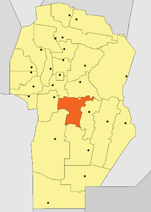 Location of Tercero Arriba Department in Córdoba Province