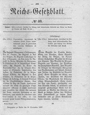 Veröffentlicht im Reichs-Gesetzblatt vom 30. September 1887
