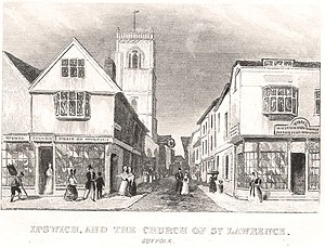 St Lawrence Church, Ipswich - A view of the tower in 1846