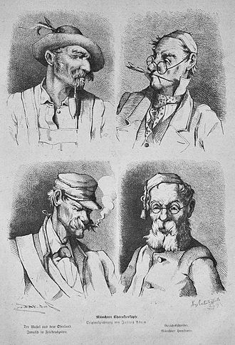 "Bavarians - Caricature of four ""Munich types"" (Münchner Charakterköpfe): Highlander (Der Wastl aus dem Oberland ""Wastl from the Oberland""), clerk (Gerichtsschreiber ""court secretary""), shirker (Invalid in Friedenszeiten ""peacetime-invalid""), petty bourgeois (Münchner Hausvater ""Munich pater familias""), Julius Adam, Die Gartenlaube (1875)."