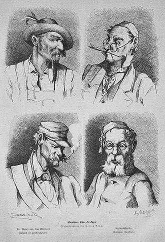 """Bavarians - Caricature of four """"Munich types"""" (Münchner Charakterköpfe): Highlander (Der Wastl aus dem Oberland """"Wastl from the Oberland""""), clerk (Gerichtsschreiber """"court secretary""""), shirker (Invalid in Friedenszeiten """"peacetime-invalid""""), petty bourgeois (Münchner Hausvater """"Munich pater familias""""), Julius Adam, Die Gartenlaube (1875)."""