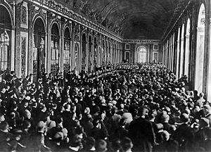 The Economic Consequences of the Peace - The signing of the Treaty of Versailles on June 28, 1919 in the Hall of Mirrors of the Palace of Versailles