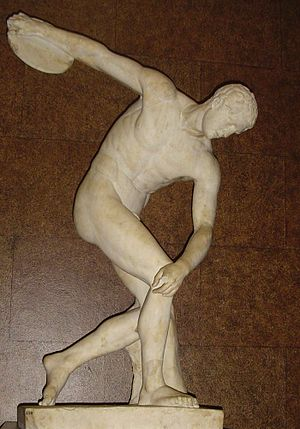 Discobolus - The Townley Discobolus at the British Museum, Roman copy with incorrectly restored head.