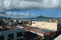 View of San Juanico Strait, the Tacloban harbor, and a part of downtown Tacloban, two years after Typhoon Haiyan struck the city
