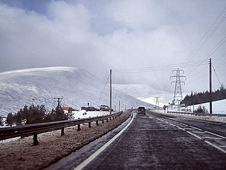 Pass of Drumochter - Image of the road in winter. February 2005