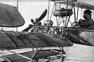 Dufaux 4 - Armand Dufaux in the Dufaux 4 seaplane on Lake Geneva, December 1910