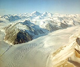 Aerial view of the Beardmore Glacier in 1956