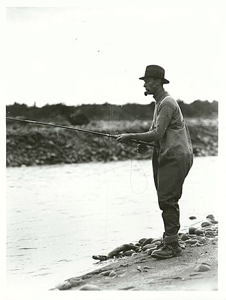 The Duke fishing at Tongariro River, New Zealand, 1927 Duke of York (later King George VI) at Tongariro River (1927).jpg