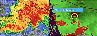 Tornado outbreak of February 23–24, 2016 - Radar image of the supercell responsible for producing the EF3 tornado that struck the town of Paincourtville, Louisiana.