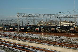 European Rail Shuttle B.V. - Siemens ES 64 F4 Electric locomotive with the ERS Railways logo at the Waalhaven-Zuid in Rotterdam.