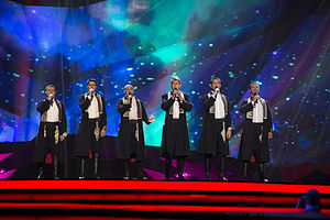 Croatia in the Eurovision Song Contest 2013 - Klapa s Mora at the first semi-final dress rehearsal in Malmö.