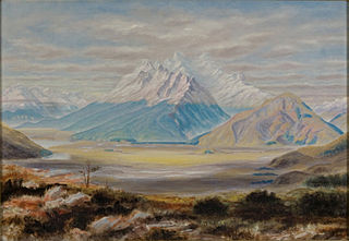 Painting of Mount Earnslaw (New Zealand) by John Thomson