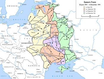 English: Map of the Eastern Front (WWII), 1941...