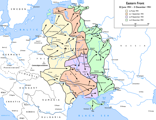 The eastern front at the time of the Battle of Moscow: Initial Wehrmacht advance - to 9 July 1941 Subsequent advances - to 1 September 1941 Encirclement and battle of Kiev to 9 September 1941 Final Wehrmacht advance - to 5 December 1941 Eastern Front 1941-06 to 1941-12.png
