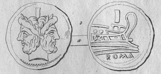 As (Roman coin) - An etching of a Roman Republican as.