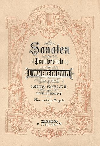 Edition Peters - An Edition Peters title page of an old bound volume of Beethoven's piano sonatas.