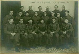 Edmond Wilhelm Brillant - PPRD Railway Company C of Hagana Haifa, 1939 – Edmond Brillant is in the first row on the right, with a pistol