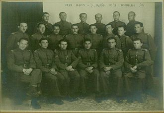 Edmond Wilhelm Brillant - PPRD Railway Company C of Hagana Haifa, 1939 – Edmond Brillant is in the first row on the right, with a pistol