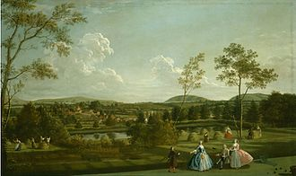 Newtown, Hampshire - Newtown shown in the distance of a portrait of the Montagu family of Sandleford Priory by Edward Haytley, 1744.