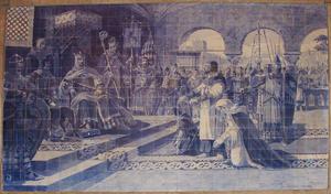Egas Moniz o Aio - Egas Moniz is presents to the King of Leon with his family
