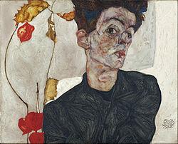 Egon Schiele: Self-Portrait with Physalis