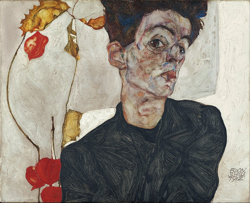 Egon Schiele - Self-Portrait with Physalis - Google Art Project