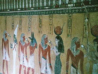 KV43 - Thutmose receives life from, in turn, Osiris, Anubis, and Hathor (wall decoration in KV43)