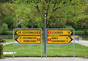 Direction, position, or indication sign - Directional road signs in Luxembourg