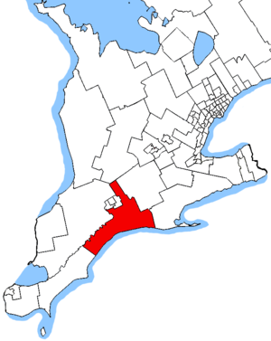 Elgin—Middlesex—London - Elgin—Middlesex—London in relation to other southern Ontario electoral districts