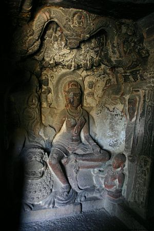 Ambika (Jainism) - An image of Ambika in Cave 34 of the Ellora Caves