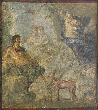 """Cultural depictions of the dog - Painting, Endymion and Selene with a dog, """"House of the Dioscuri"""",  Pompeii"""