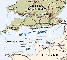 A map of the English Channel, south of England, north of France