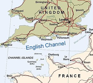 Choke point - The English Channel, a choke point south of England and north of France