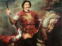 Equestrian portrait of King Solomon I of Imereti (Western Georgia in Europe) wearing an ermine royal coat.jpg