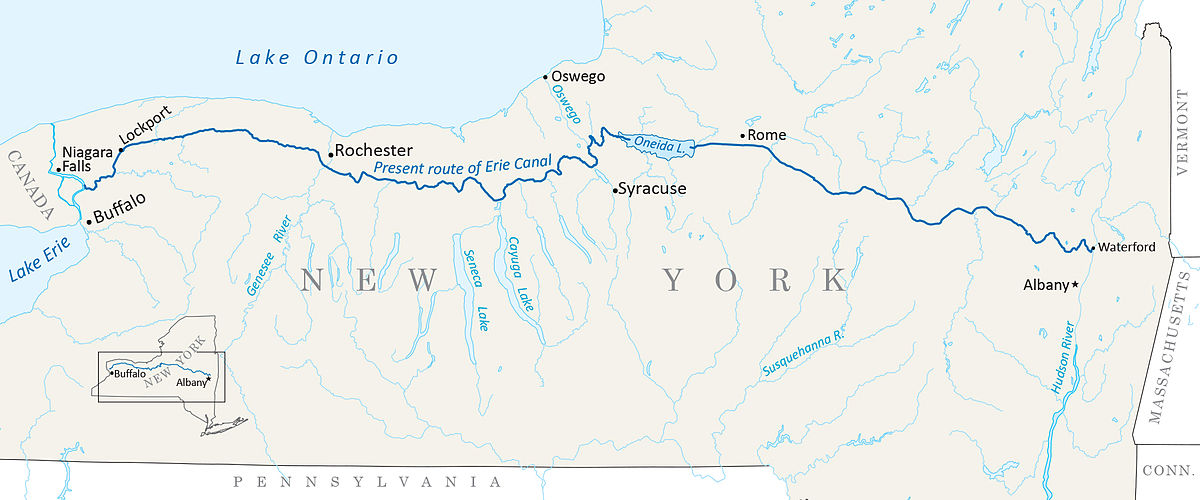 Erie Canal Map Erie Canal   Wikipedia Erie Canal Map