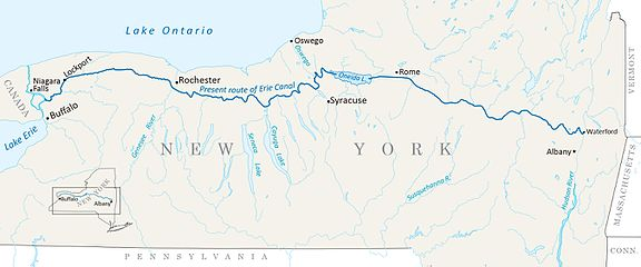 Erie Canal Wikiwand - Erie canal on map of us